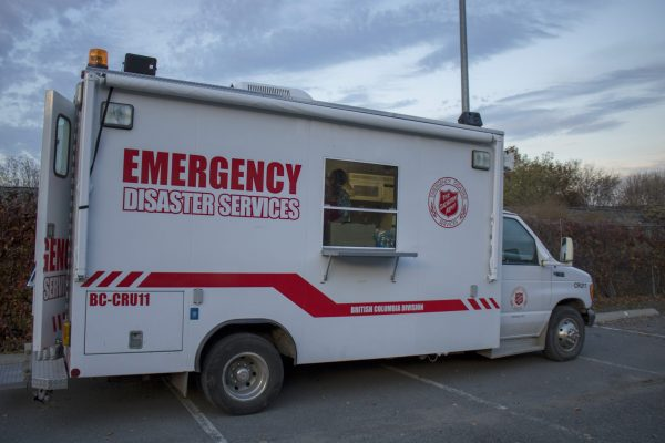 The disaster services truck used