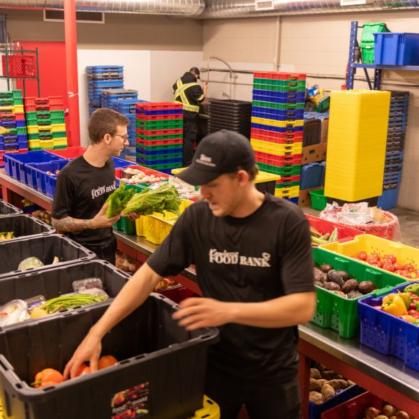 Volunteers prepping for the next day at the food bank